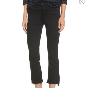 Mother Denim Black Cropped High Rise Denim